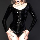 V-neckline S-XXL Size Black Long Sleeves Fashion Leather Clothes With Zippers Front W35865