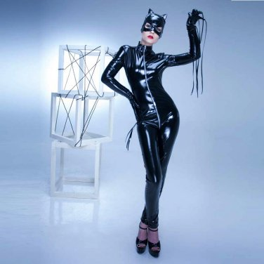 Fashion One-Piece Black Fetish Wear Leather Clothes With Hats And Gloves W35867B