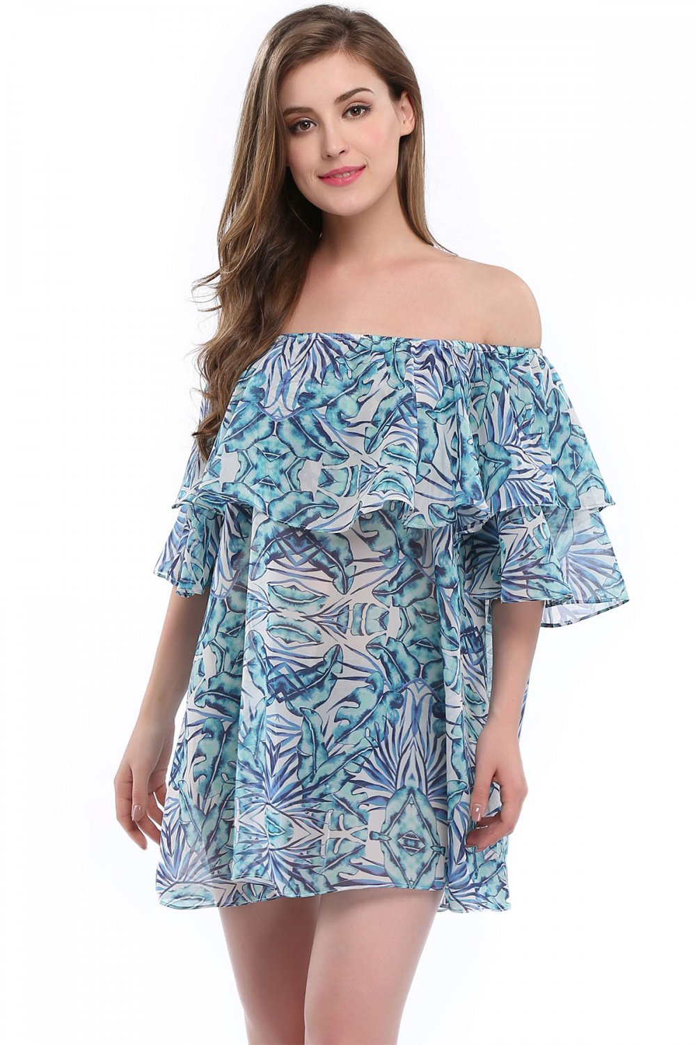 Double Layer Off The Shoulder Fashion S-XL Size Blue Ruffle Beach Dress W351018