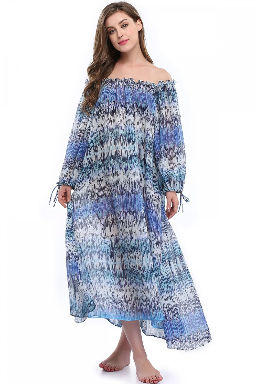 S-XL Size Blue Long Sleeves Off The Shoulder Ruffle Trim Maxi Dress W351021
