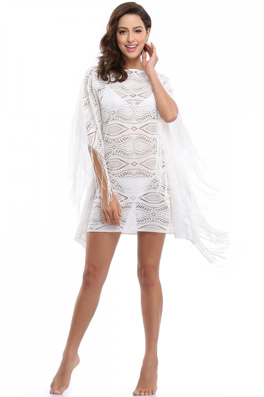 Fringe Accengs Scoop Neckline S-XL Size Drape Sleeves White Fashion Beach Dress W351025
