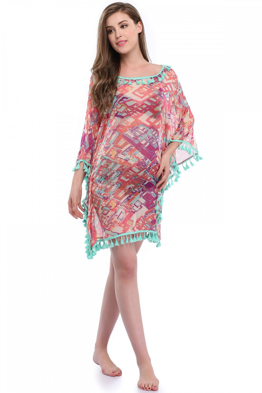 New Style S-XL Size Drape Sleeves Scoop Neckline Fashion Beach Dress W351027