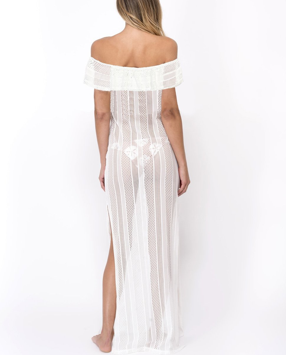 White S-XL Size Off The Shoulder Fashion Side Slit Maxi Dress W351028A