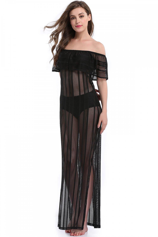 Fashion Side Slit Black S-XL Size Off The Shoulder Maxi Dress W351028B