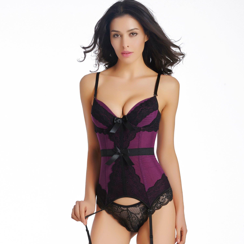 Women Sexy     Mesh   Bustier  With Bow  Purple Bustier Corset   S-XXL Size   W355503F
