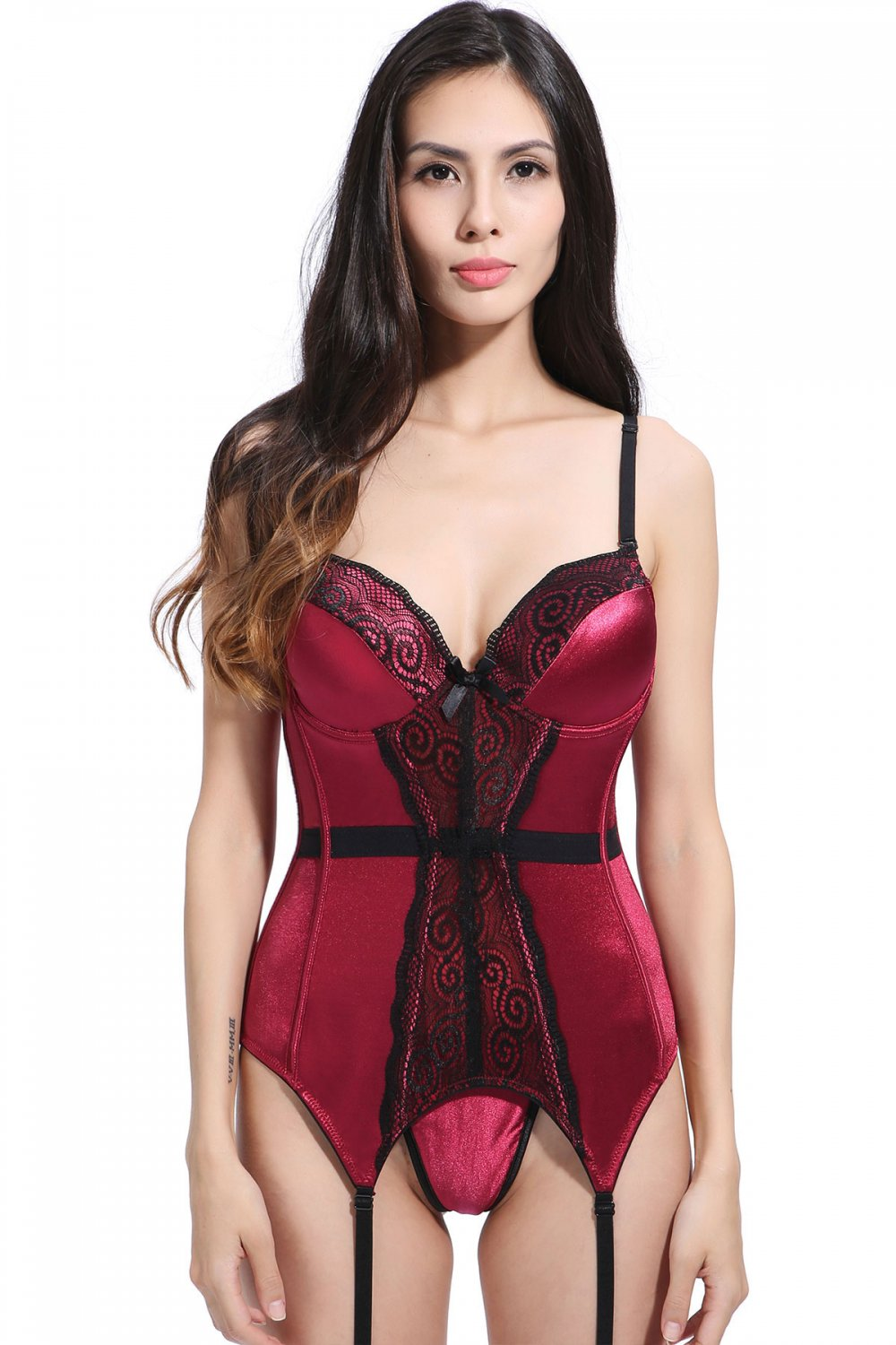 Red Satin Underwire Sexy Corset With Lace  S-XXL Size W356017