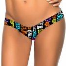 Hot Letter Pattern Print S-XL Size V Shape Bottom Women Swimming Trunks W3537D