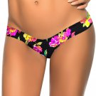 Black Floral Pattern Print Fashion New S-XL Size Women Swimming Trunks W3537K