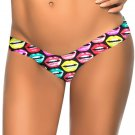 Fashion New Colorized Lip Pattern Print S-XL Size Women Swimming Trunks W3537M