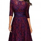 Women Red Round Neck Lace Retro Skirt S-XXL Size W3517871B