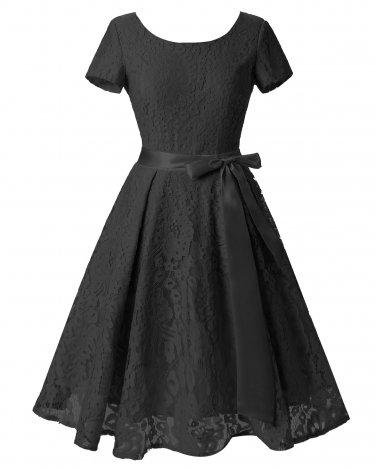 Women Black Retro Dress With A Waistband S-XXL Size W3517874C