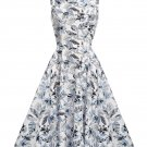 Women Retro Skirt With Patterns Design Of Blue Leaves S-XXL Size W3517893B
