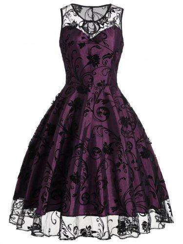 Women Purple Neck And Hemline With Lace Noble Retro Dress S-XXL Size W3517914A