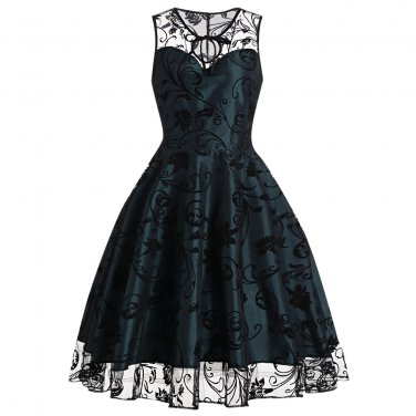 Dignified And Charming Dress Women Green Neck And Hemline With Black Lace S-XXL Size W3517914B