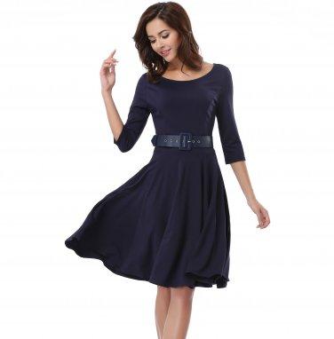Decent Dress Women Blue Waist With A Belt S-XXXXL Size W3517915A
