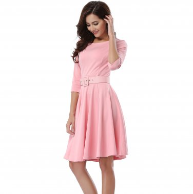Fashionable Dress Women Pink Waist With A Belt S-XXXXL Size W3517915B