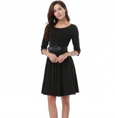 Black Dress Women with grace And Waist With A Girdle S-XXXXL Size W3517915C