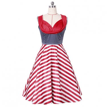 Red Sleeveless Striped Dress Women with grace S-XXL Size W3517916