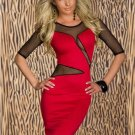 Red Sexy Mesh Split Fashion Midi Dress with Mesh Sleeve W203118A
