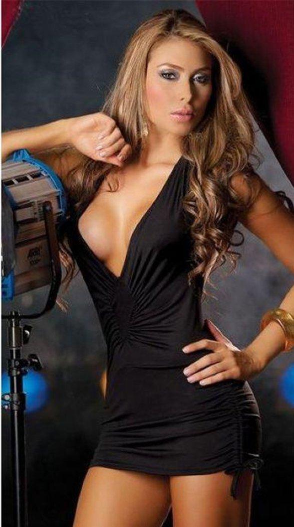 Sexy Low Cut Front Black Club wear Dress With Ruffle W123240B