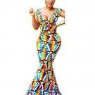 Casual Sleeveless V-neck Floral Print Mermaid Summer Dress WT34306