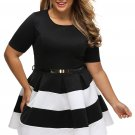 4 Colors Plus Size XL-6XL Short Sleeve Big Women Female Casual Dress Party Dress W870401