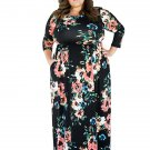 Plus Size Colorful Floral Printing Big Bust Women Female Casual Party Dress with Pocket W690022