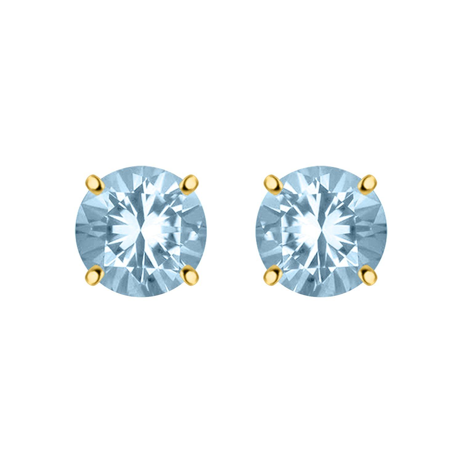 Silver  Dew 925 Sterling Silver Simple Aquamarinr Solitaire Earring For Ladies & Girls