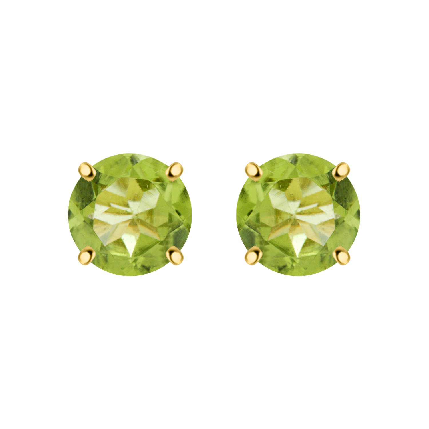 Silver Dew 925 Silver Solitaire Peridot Earring In Yellow Rhodium