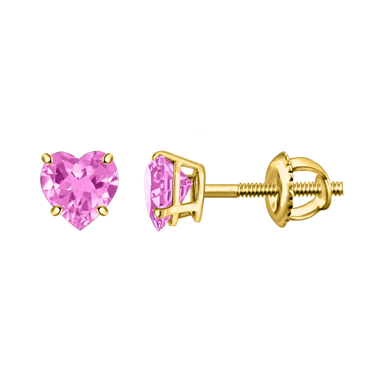 Fabulous Collection Pink Amethyst Heart Shape Solitaire Earring In 925 Silver By Silver Dew