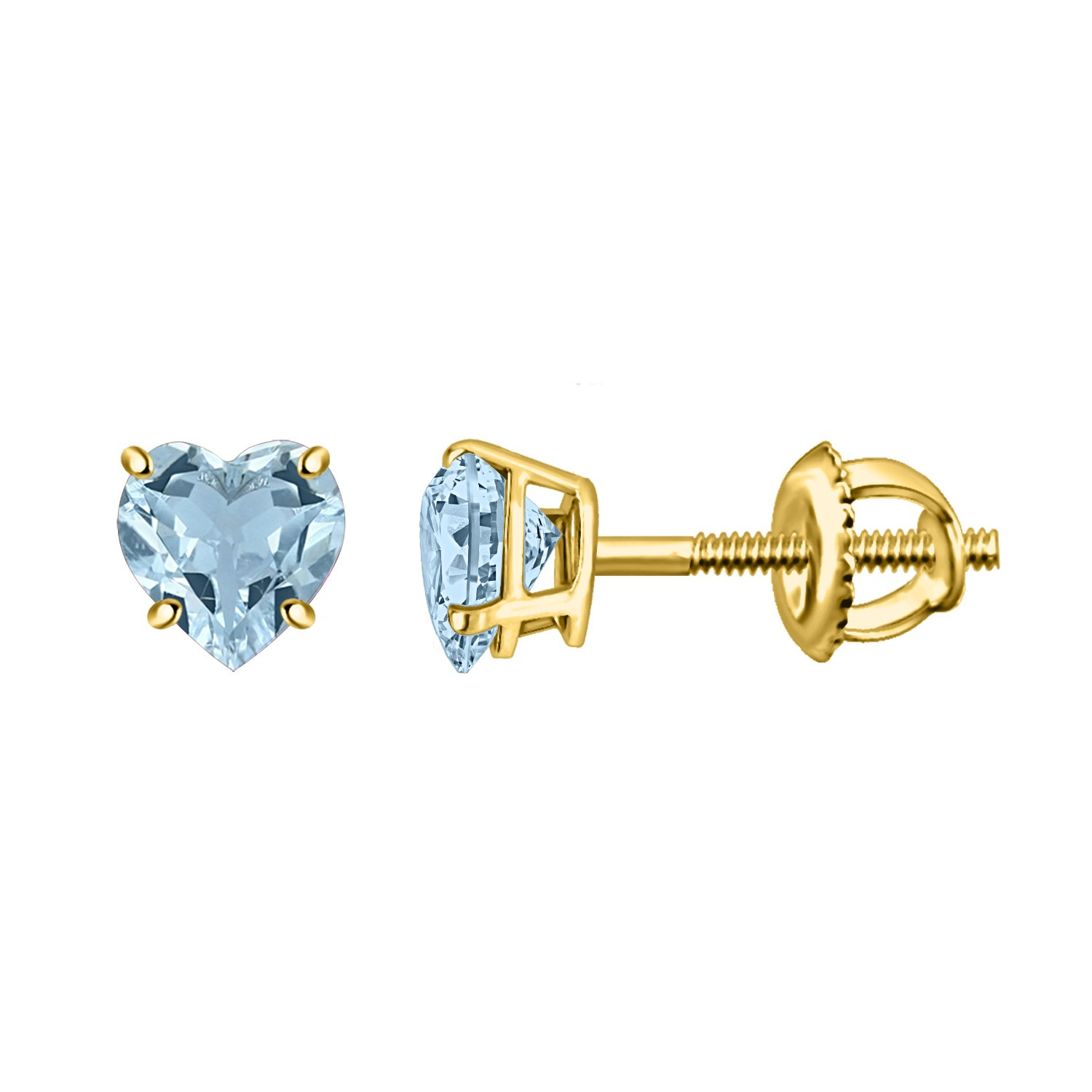 Silver Dew 925 Silver Aquamarine Pleasing Solitaire Stud Earring For Ladies & Girls