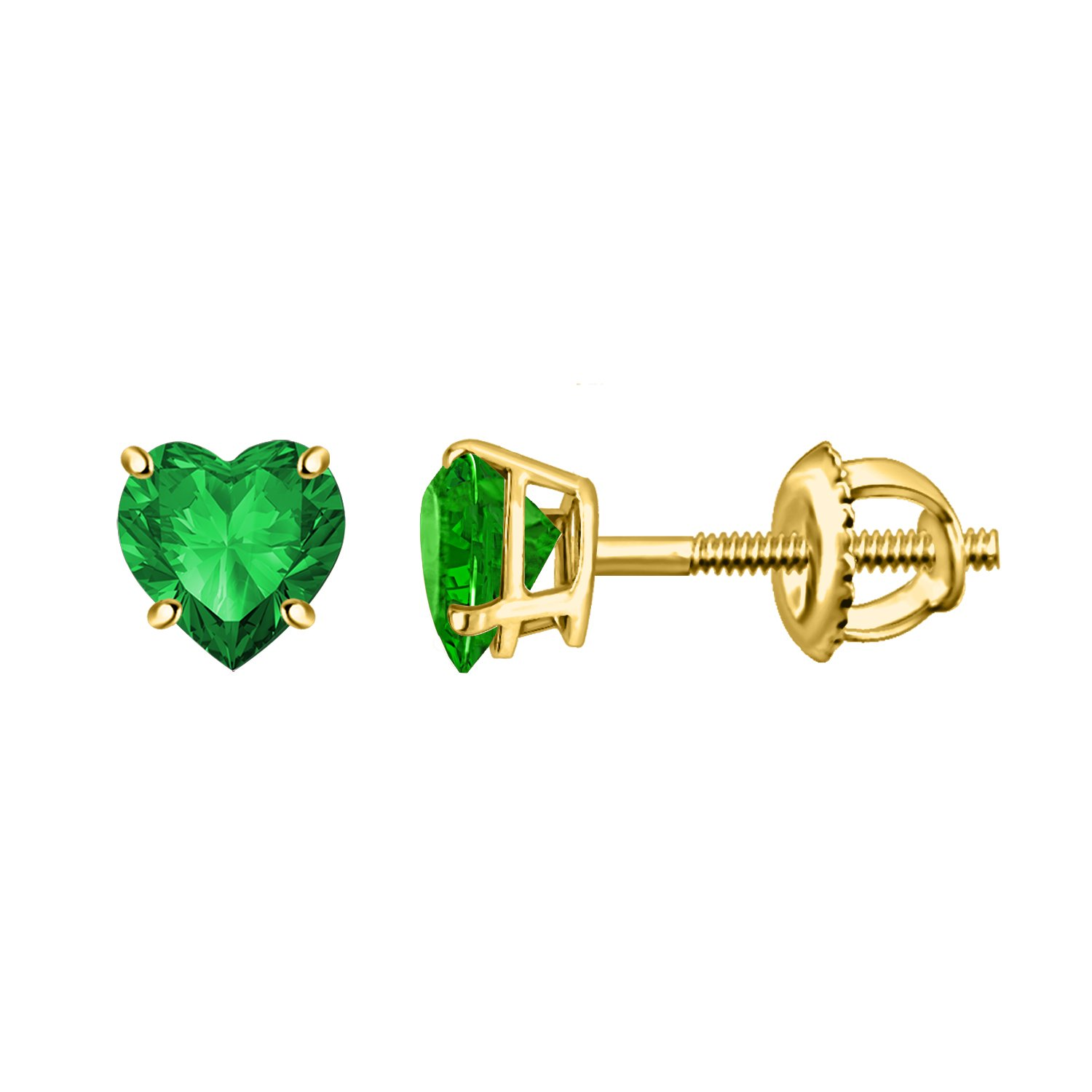 0.94CT Green Emerald Yellow Gold Heart Shape Solitaire Screw back Earrings In 925 Pure Silver
