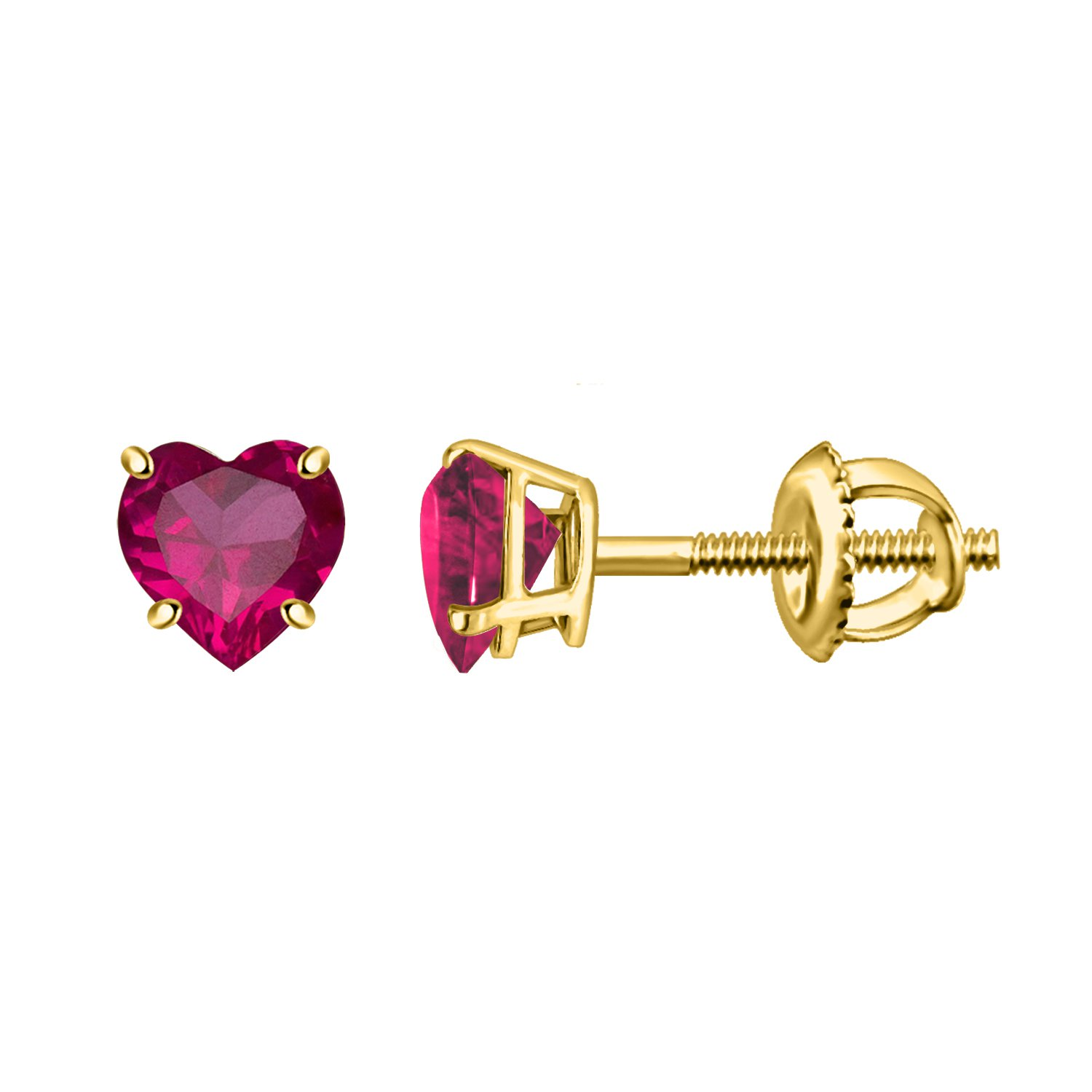 0.94CT Heart Shape Red Ruby Solitaire Yellow Gold Finishing Stud Earrings In 925 Sterling Silver