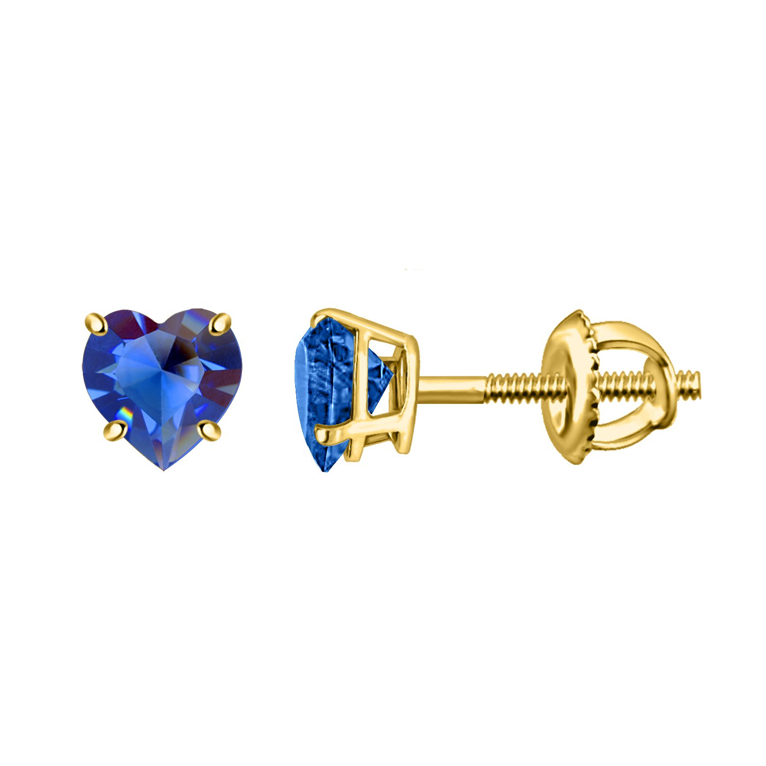 Heart Blue Sapphire Solitaire 925 Sterling Silver Stud Earrings In Yellow Gold