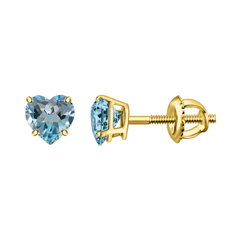 Heart Blue Topaz Yellow Gold Finish Solitaire Women's Stud Earrings In 925 Sterling Silver