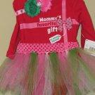 0-3 month Girls Christmas Outfit mommy onesie, headband, tutu handmade GORGEOUS