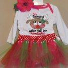 Landolynn's, LLC. 3-6 month Girls Christmas Outfit grandma onesie, headband, tutu handmade
