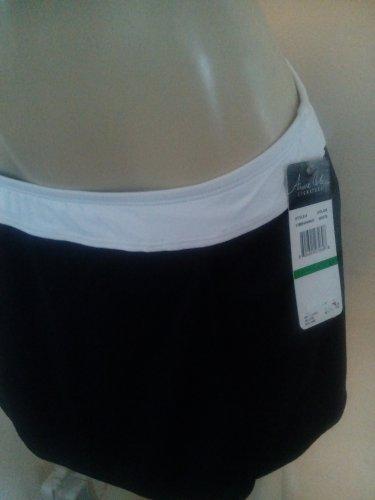 $54 Anne Cole Swimsuit, Banded Color block, WHITE / BLACK  split skirt bottom LARGE