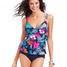 $64 NWT. SWIM SOLUTIONS EXOTIC PRINT TANKINI SWIM TOP TIERED MULTI SZ 10, LARGE