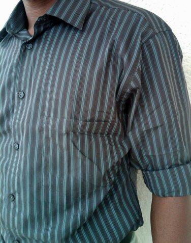18.5.- 34/35 Alfani men's dress shirt  iron Free /Slim Fit DK- brown stripe - XXXL