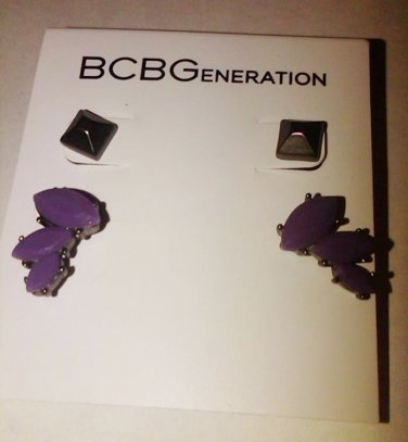 BCBG Duo hermatite pyramid purple cluster set.NWT, ONE SIZE.