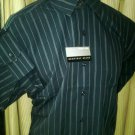 16/32-33 NWT Geoffrey Beene Wrinkle Free Dark Gray stripe Shirt. Large.
