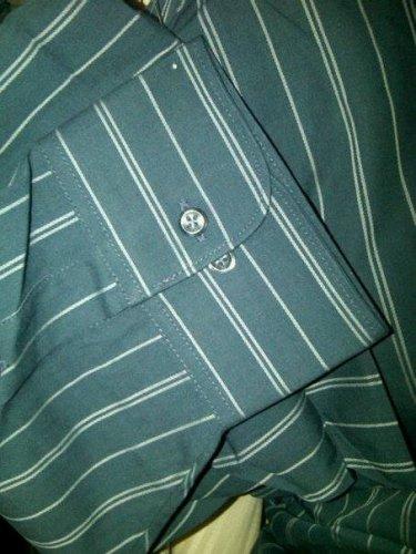 17.5/34-35 NWT Geoffrey Beene Wrinkle Free Dark Gray stripe Shirt.