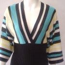 $36 Heart n soul Kimono style knit top. black/ teal/ yellow. Small.