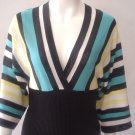 $36 Heart n soul Kimono style knit top. black/ teal/ yellow. Medium