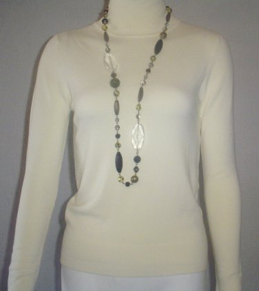 jOSEPH A, Ribbed Accent turtle neck sweater top  LARGE CREAM