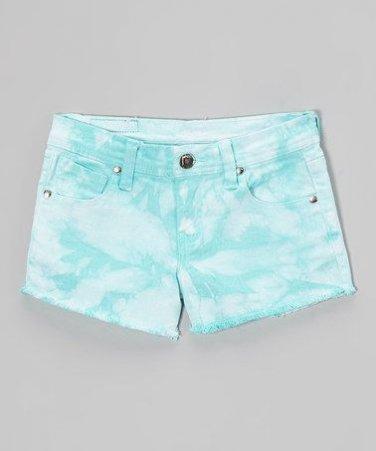 $38 Aqua Girls Tie dye denim shorts size 6
