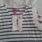 Aqua striped shirt navy blue white. Sz 5.