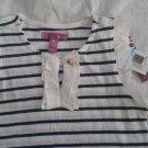 Aqua striped shirt navy blue white. Sz 5.