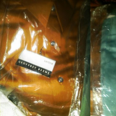 16/34-35 NWT Geoffrey Beene Wrinkle Free Sateen Performance Shirt. Large. Caramel Brown